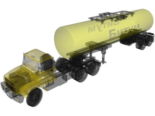 KrAZ 63221 with AB-22 Tanker Trailer 3D Model