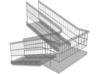 Double Staircase 3D Model