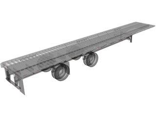 Split Axle Flatbed Trailer 3D Model