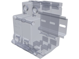 Circuit Breaker with DIN Rail 3D Model
