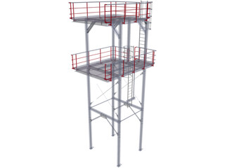 Stairtower 2 Levels 3D Model
