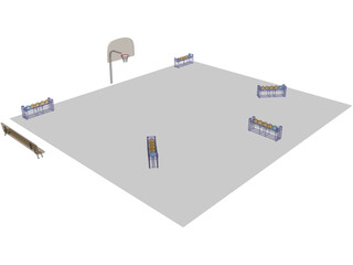 Basketball Court (3 Point Shootout) 3D Model