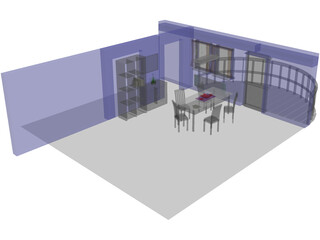 Dining Room with Balcony 3D Model