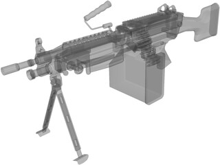 M249 Machine Gun 3D Model