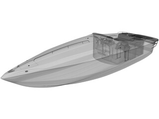 Speed Boat Ferreti 3D Model