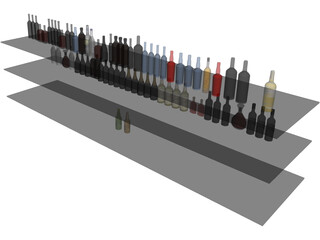 Bar Bottles Collection 3D Model