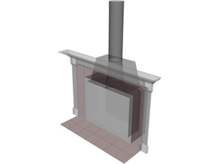 Basic Home Fireplace and Mantle 3D Model