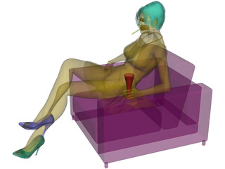 Woman on Chair 3D Model