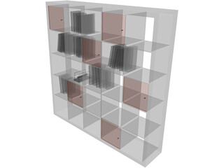 Bookcase Wooden 3D Model