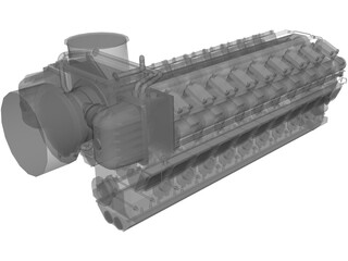 Engine Diesel 18V48/60 3D Model