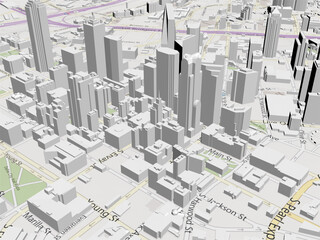 Dallas City Map 3D Model
