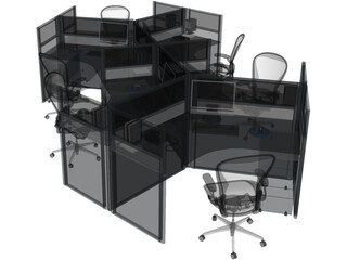 Office Table Workspace 3D Model