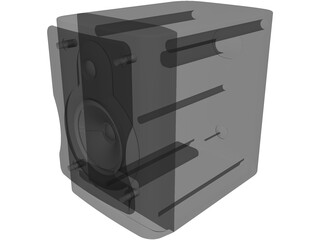 Speaker Box with Speakers and Grill 3D Model