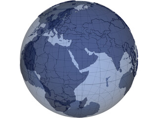 Globe Map Geopolitical Extruded 3D Model