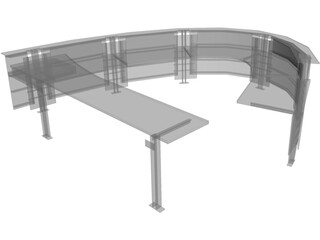 Desk Curved Reception 3D Model