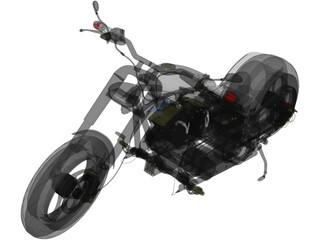 Custom Chopper Motorcycle 3D Model