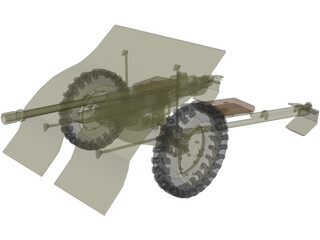 Bofors wz36 Antitank Gun 3D Model