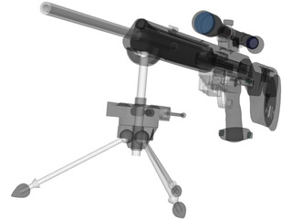 Hekler Koch PSG1 Sniper Rifle 3D Model