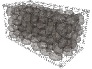 Natural Large Stone-Filled Metal Gabions 3D Model