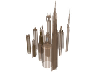 Futuristic Skyscraper Collection 3D Model