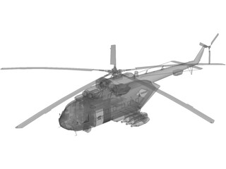 MI-8 Hip Transport Helicopter with Rocket Pods 3D Model